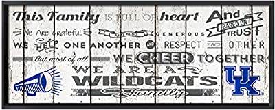 """KH Sports Fan 32""""X11.75"""" Kentucky Wildcats Family Cheer Large Weathered Collage Plaque"""