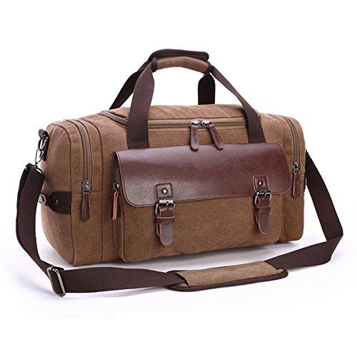 Mupack Men's Top-handle Genuine Leather Weekender Holdall Overnight Bag Canvas Vintage Travel Tote Shoulder Bag(Blue) Café