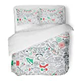 Emvency 3 Piece Duvet Cover Set Brushed Microfiber Fabric Breathable Mexico Cinco De Mayo Celebration Doodle Traditional Mexican Party White Sketch Bedding Set with 2 Pillow Covers Twin Size
