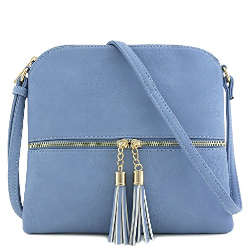 (Lightweight Medium Crossbody Bag with Tassel (Light Blue))