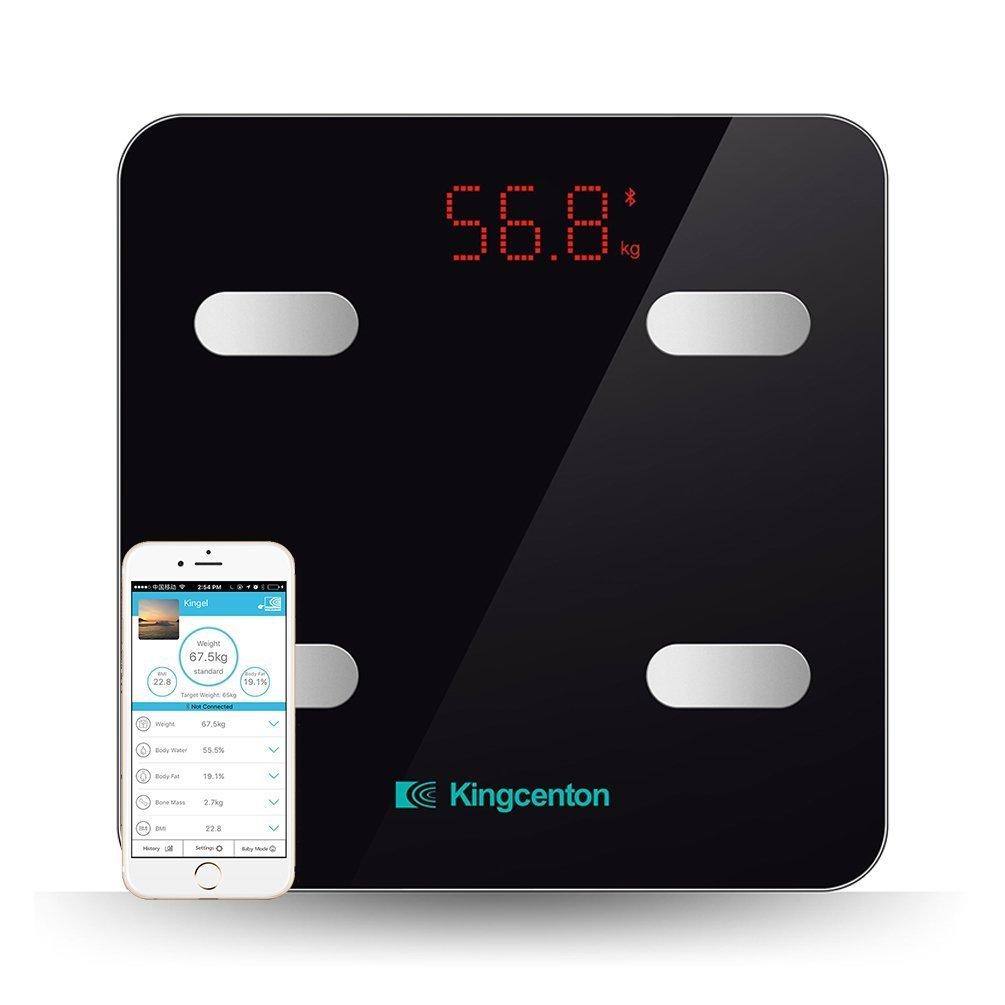 Kingcenton Mini Báscula de Baño Digital Inteligente con APP para iOS y Android, Báscula Grasa Corporal Bluetooth con Análisis Corporal de 8 Funciones ...