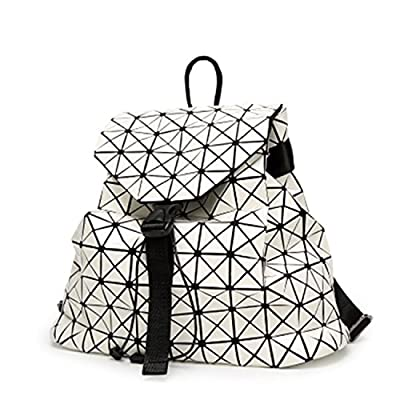 ad065df6fa free shipping Memoriesed Women Backpack Diamond Lattice Geometry Quilted  School Bag Backpacks Luminous School Bags Holographic