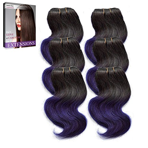 Emmet 7A Bodywave 6pcs/lot 300g 50g/pc Brazilian Human Hair Extension, with Hair Care Ebook (1B#/Purple)