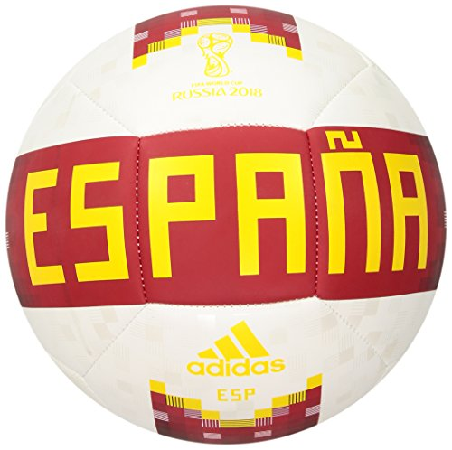 Adidas Spain World Cup - adidas World Cup Soccer Official Licensed Product Spain Ball, Size 5, White/Red/Bold Gold