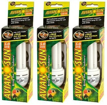 Amazon.com : Zoo Med Aviansun 5.0 UVB Compact Fluorescent Bulb (Pack of 3) : Pet Supplies
