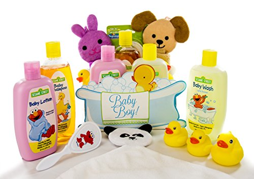 Bubble Bath Time Gift Basket for New Moms, Baby Showers a Great Gift Set (Baby Boy)