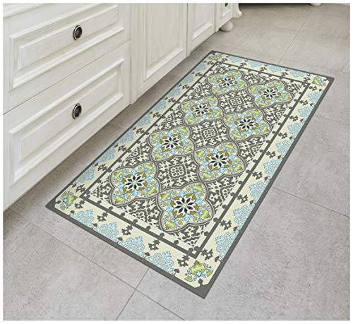 Floor Cloth Designs - Tiva Design Victoria Vinyl Floor Mat: Decorative Linoleum PVC Rug Runner Tile Flooring in 12 Choices, Colorful, Durable, Anti-Slip, Hand Washable, and Protects Floors 47.2