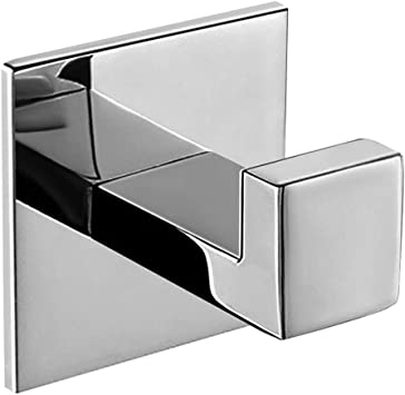 Homovater Coat Hook Sus 304 Stainless Steel Towel Robe Hook Coat Hanger Square Bathroom Accessories Acrylic Self Adhesive No Drilling Chrome Finish 1 Pack Amazon Co Uk Diy Tools