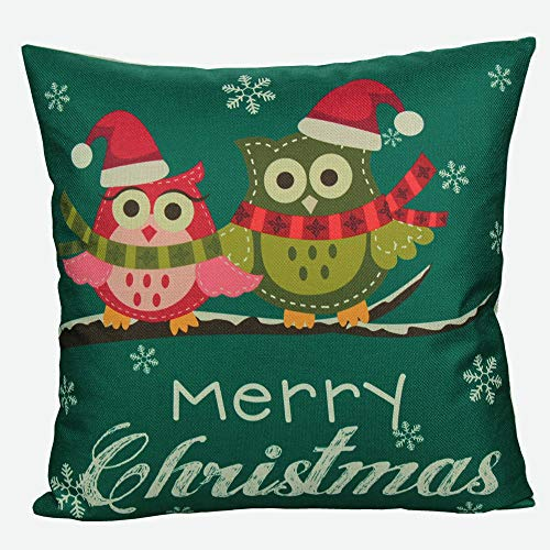 All Smiles Owls Merry Christmas Throw Pillow Case Cushion Cover PiIlowcase,18x18,Father Christmas, Deer, Snowman ()
