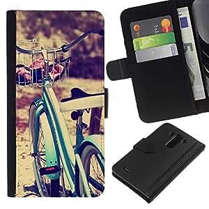 All Phone Most Case / Oferta Especial Cáscara Funda de cuero Monedero Cubierta de proteccion Caso / Wallet Case for LG G3 // azul bicicleta viñeta sol moto inconformista