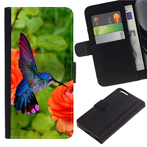 Colorful Pattern Flip Wallet Leather Holster Protective Skin Case for Samsung Galaxy Note 4 IV/SM-N910 (Red Lilies Flowers and Hummingbirds)