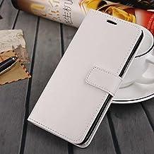 MEIZU MX5 case, solid color pattern wallet style case magnetic design flip folio PU Leather cover standup cover case for MEIZU MX5 ( Color : White-MEIZU MX5 )