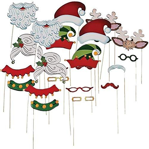 Christmas Santa & Elf Stick Costume Photo Booth Props - 24 pcs