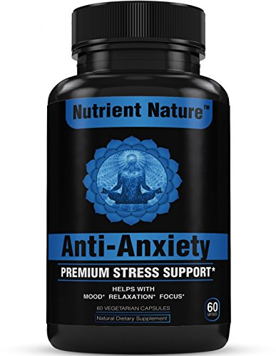 Anti Anxiety and Stress Relief Mood Support Supplement, Vegan Capsules with Ashwagandha, All Natural Calm, Non-GMO