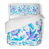 SanChic Duvet Cover Set Watercolor Hand Paisley Whimsical Blue Flowers Leaves Oriental Arabic Indian Spain Turkish Pakistan Decorative Bedding Set with 2 Pillow Shams Full/Queen Size