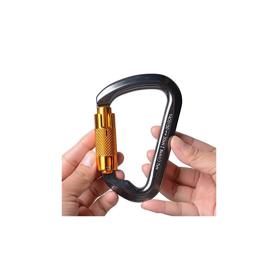 AYAMAYA 30KN / 3000Kg Aluminum Locking Climbing Carabiner D Shape Auto Locking Carabiner Hook Twist Lock Carabiner Outdoor Sport Tools