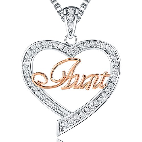 Auntie Birthday Gifts - 'Aunt' Love Heart Pendant Necklace - Women's Twotone Fashion Jewelry - Anniversary Present from Niece Nephew to Her