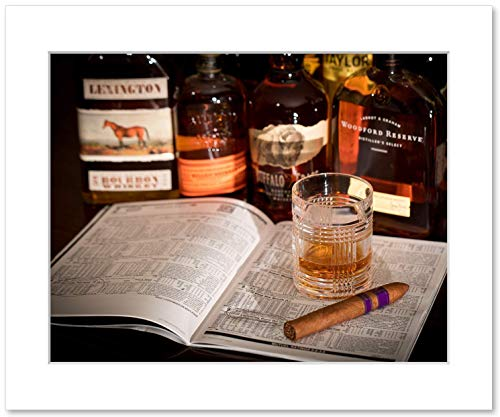 Bourbon, Cigar, and Racing Form Wall Art, Whiskey Decor and Gift, 8x10 Matted Photographic Print