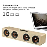 Wireless Stereo Speaker, TechCode Portable Wireless Bluetooth Speakers TF Card AUX Subwoofer Portable Speaker for TV Home Theatre 3D Wood Sound Bar for All Bluetooth Devices/iPhone/iPad(Yellow)