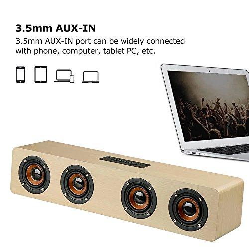 3D Wireless Bluetooth Subwoofer Wood Speaker, elcfan Portable Stereo Sound Bar for Desktop, Laptop,PC, TV, Home Theater - Light Brown by elecfan (Image #4)