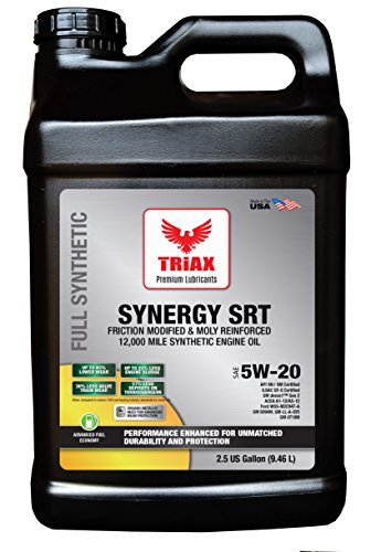 Triax 5W-20 SYNERGY SRT Full Synthetic - API SN Licensed - Friction Modified, Pre-Boosted for Viscosity Stability, Long Drain (2.5 GAL (PACK OF 1))