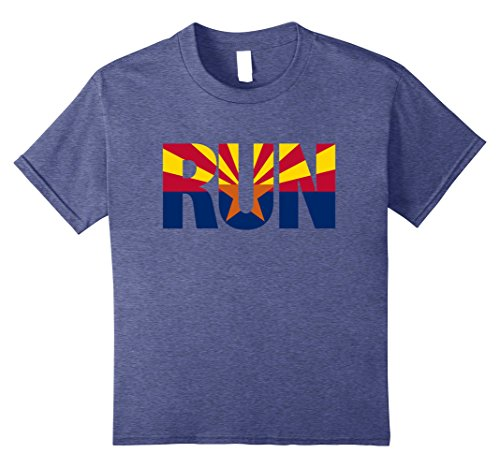 Kids Run Arizona State Flag Running Pride Motivation T-Shirt 8 Heather Blue (Arizona Christmas Gift Baskets)