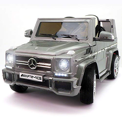 2019 Ride On Car Mercedes G65 Truck w/ Remote Control for Kids   12V Battery Power Licensed Kid Car to Drive with 3 Speeds, Leather Seat (Silver, G Wagon AMG)