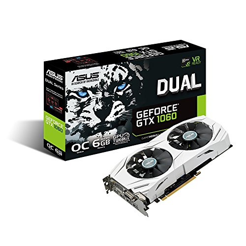 ASUS GeForce GTX 1060 6GB Dual-fan OC Edition VR Ready Dual HDMI DP 1.4 Gaming Graphics Card (DUAL-GTX1060-O6G) Video Card Overclocked Edition