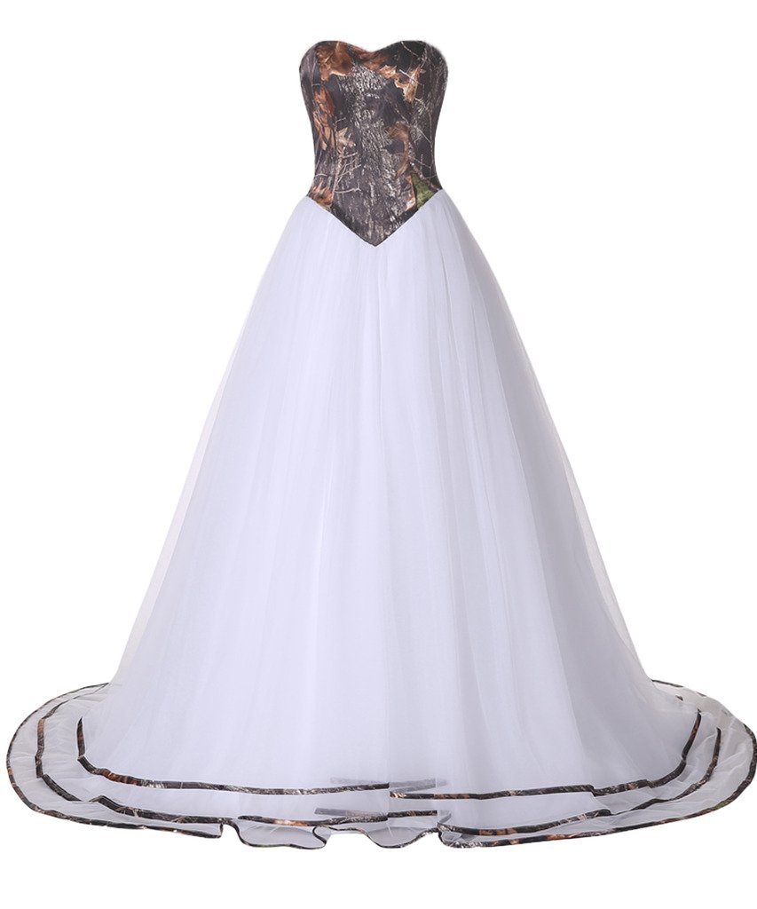 MILANO BRIDE Unique Women's Camo Wedding Dresses Strapless Ball Gown Tulle-10-Camo&White