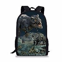 Cozeyat Crazy Dinosaur School Backpack Stylish T-rex Bookbag Creative 3D Print Dayback for Boys