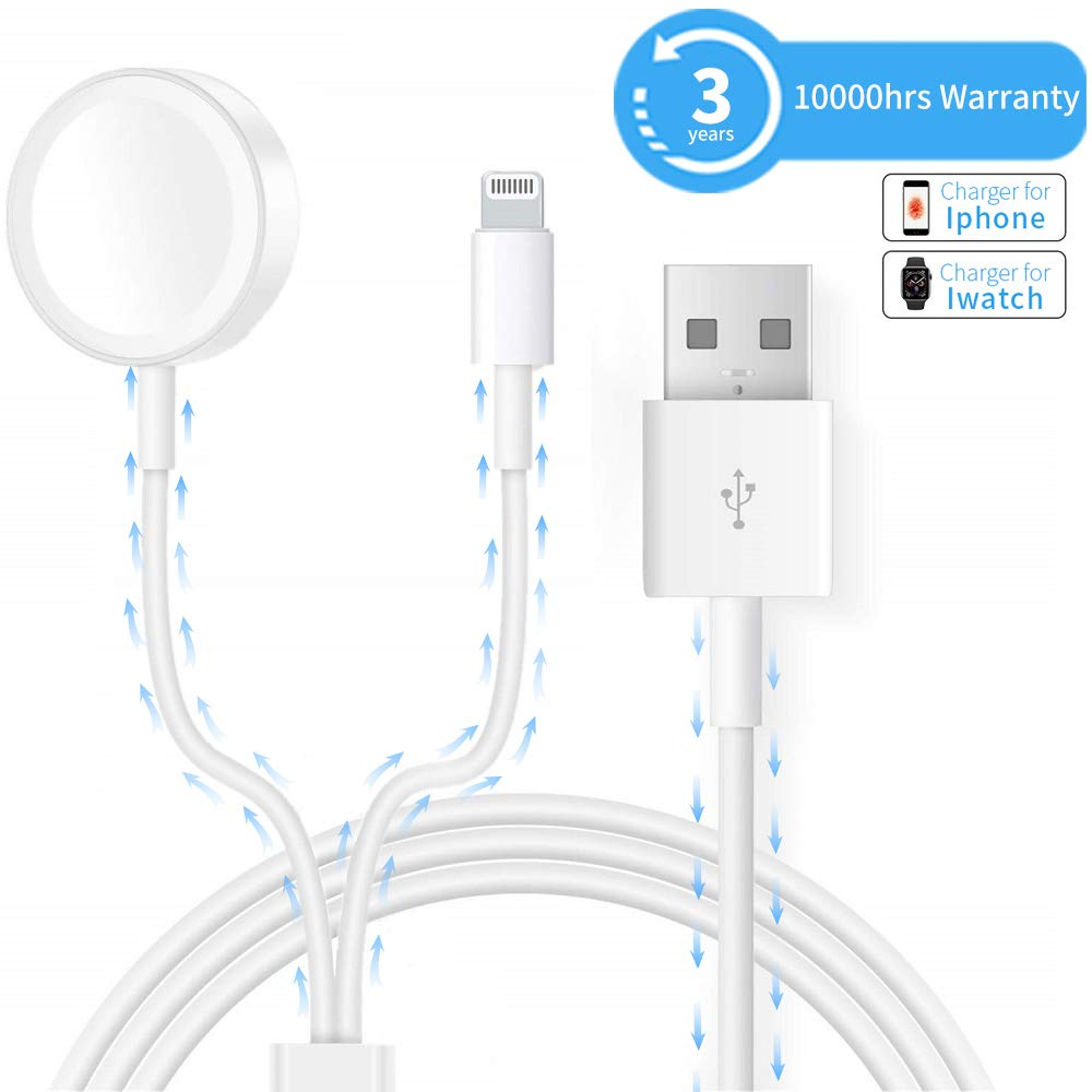 Watch Charger Compatible with Apple Watch iWatch Charger, 2 in 1 iPhone Charger 3.9ft/1.2m Portable Cord Wireless Magnetic Travel Charger Compatible iWatch 4/3/2/1, iOS Phone XR/XS/X/8/7/6/iPad Mini