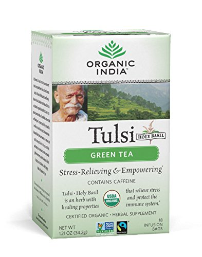 ORGANIC INDIA Tulsi Green Tea - Delicious Holy Basil and Green Tea Blend Rich in Antioxidants - 100% Certified Organic, Non-GMO, and Fair Trade, 18 Tea Bags (6 Pack)