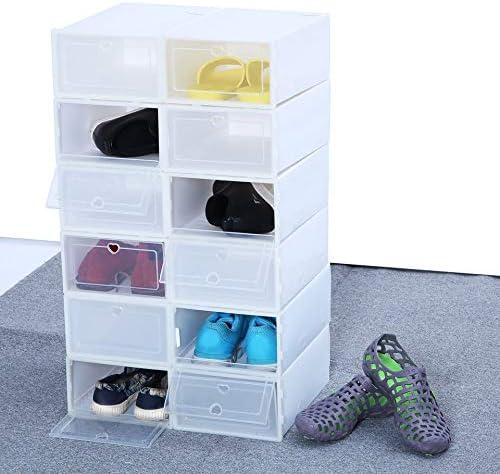 Homgrace 12 Cajas de Zapatos de Plástico Transparente Apilable ...