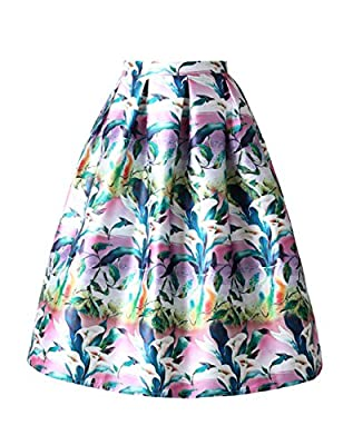 ISYITLTY Women's High Waisted A line Street Skirt Skater Waist Flare Pleated Midi Skirt