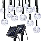Lumitify 2 Pack Globe Solar String Lights Outdoor, 19.7ft 30 LED Fairy Crystal Ball Solar Decorative Lights (White)