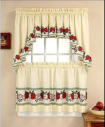Red Apples Window Curtain Set 3 Pc