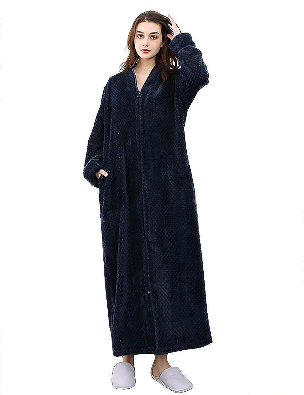 Lantesi Women's Waffle Fluffy Fleece Bathrobes Sleepwear Long Robes Zipper Front