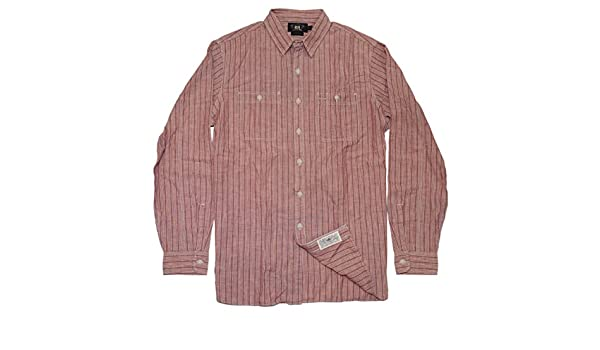 53d907ef Polo Ralph Lauren Double RL RRL Mens Casual Button Down Stripe Shirt Red  Blue at Amazon Men's Clothing store:
