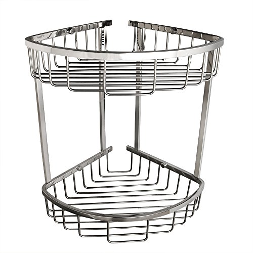 Alise Bathroom Shower Caddy 2-Tier Corner Basket Storage for Shampoo Conditioner Soap-Satin Wall Mount,SUS 304 Stainless Steel Polished Chrome ()