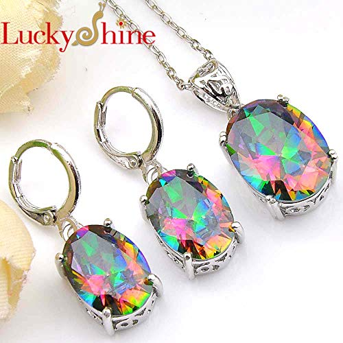 Silver Oval Mystic Pendants Necklaces | Drop Earrings Sets | Rainbow/Crystal | Cubic ()