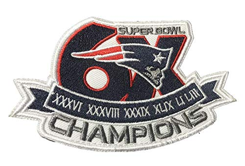 Trafford2009MU 6X Super Bowl 53 LIII Champions New England Patriot NFL 2019 Shirt Jersey Kit Embroidered Iron Sew On Patch Badge ()
