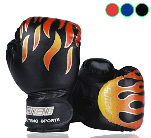 Kid Boxing Gloves Child Punching Gloves Punch Bag Fight Sparring Training, 5oz for 3 to 10 YR /Black