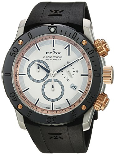 Edox Men's 'Chronoffshore-1' Swiss Quartz Stainless Steel and Rubber Diving Watch, Color:Black (Model: 10221 357R BINR)