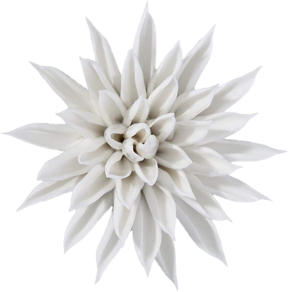 ALYCASO Starfish Ceramic Flower Wall Décor Artificial 3D Flower Wall Art for Living Room Home Hallway Bedroom Kitchen Farmhouse Bathroom Dining Room, White, 3.15 inch