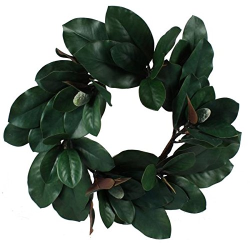 artificial Magnolia leaf wreath 22''
