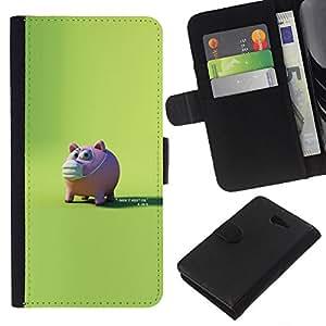LECELL--Cuero de la tarjeta la carpeta del tirón Smartphone Slots Protección Holder For Sony Xperia M2 -- Conejillo asustado --