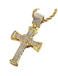 Mens Women Large Steel Gold Cross Pendant Necklace with Cubic Zirconia and 30 inches Rope Chain