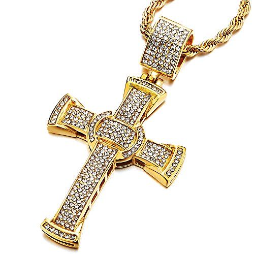 COOLSTEELANDBEYOND Mens Women Large Steel Gold Cross Pendant Necklace with Cubic Zirconia and 30 inches Rope - Zirconia Rope Cubic