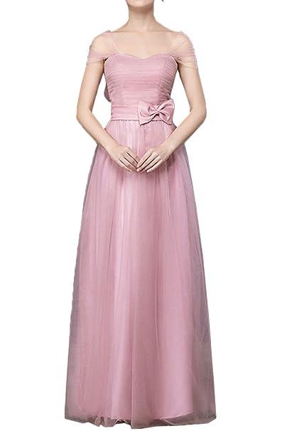sunvary elegante una línea vertical de cuello con lazos vestidos de fiesta Prom Fiesta Rosa rosa