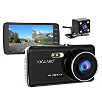 TOGUARD Dash Cam Front and Rear Dual Camera for Cars,4.0 IPS Screen,HD 1080P Car Dash Camera, Rearview Backup Camera,170 Degree Wide Angle, WDR,Loop Recording, G-Sensor, Parking Monitor